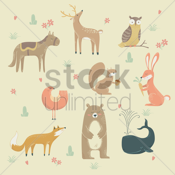collection of animal designs vector graphic