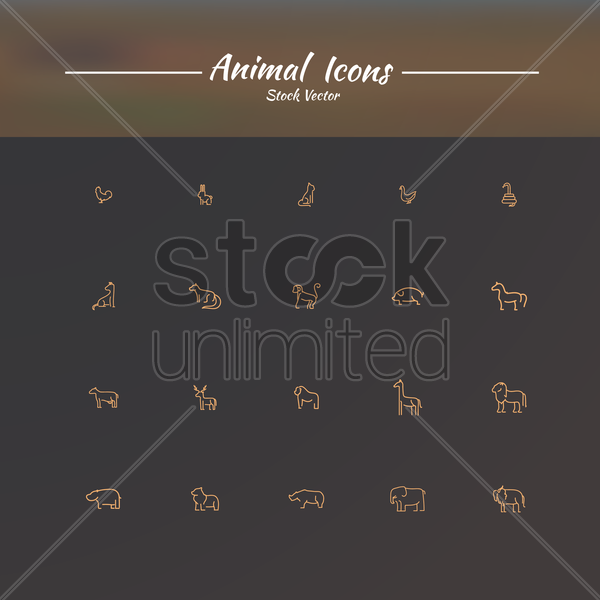 collection of animal icons vector graphic