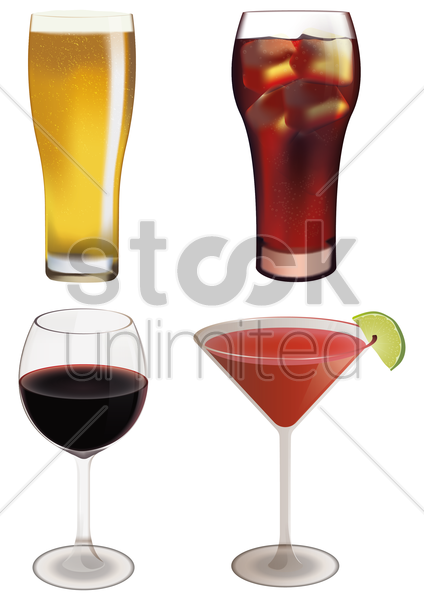 collection of drinks vector graphic