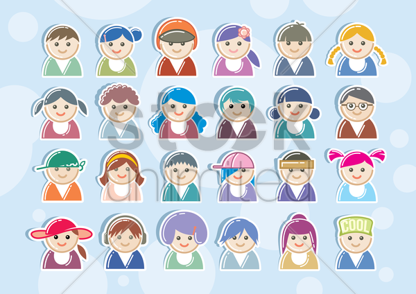 collection of faces vector graphic