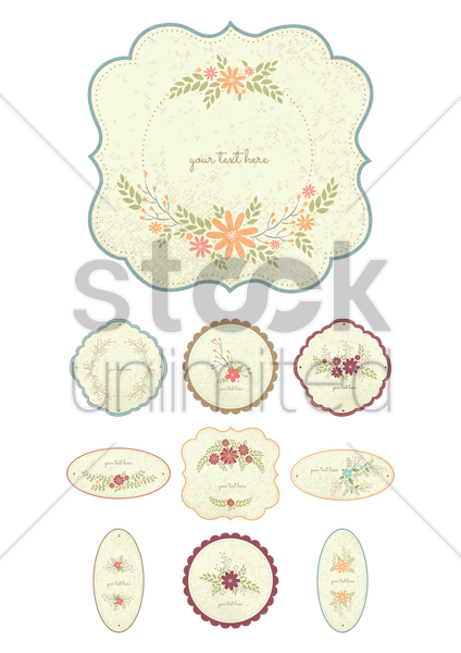 collection of floral labels vector graphic