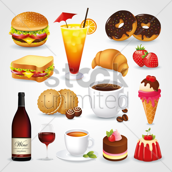 collection of food and drink icons vector graphic