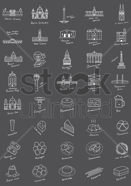 collection of german monuments and foods vector graphic