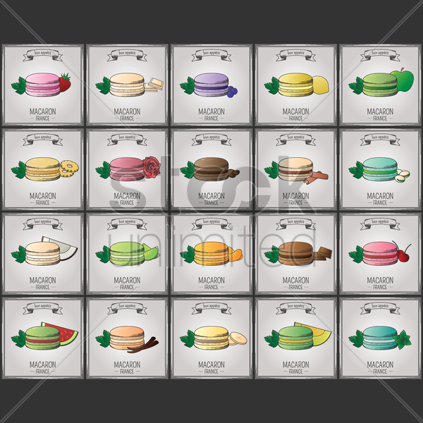 collection of macaron wallpapers vector graphic