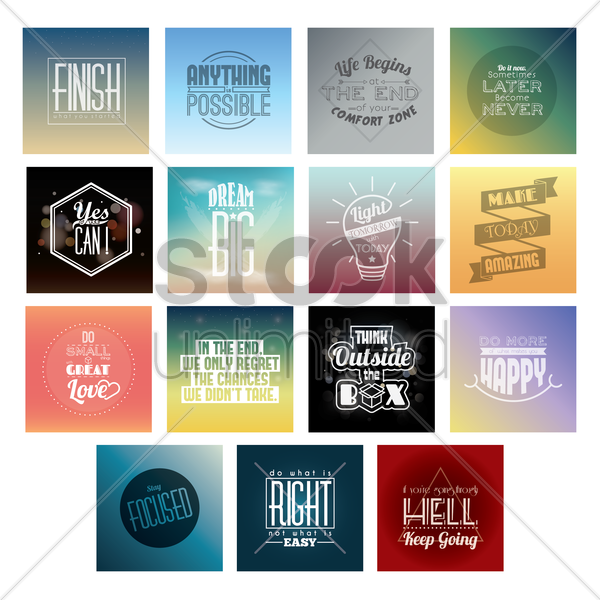 collection of motivational quotes vector graphic