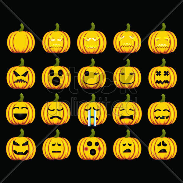 collection of pumpkin with various expressions vector graphic