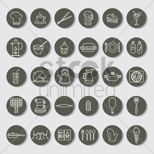 collection of restaurant icons vector graphic