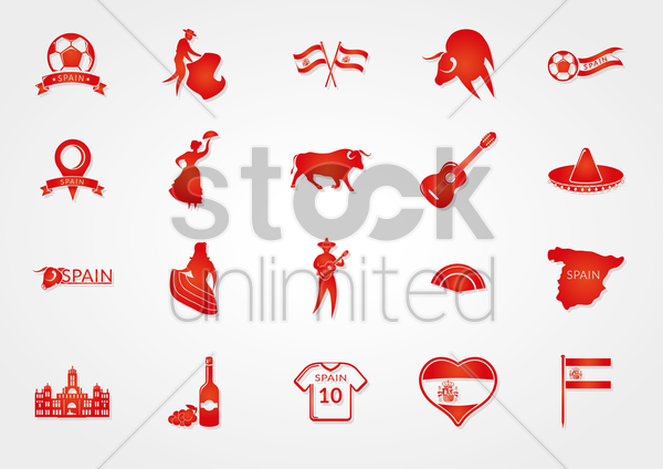 collection of spain general icons vector graphic