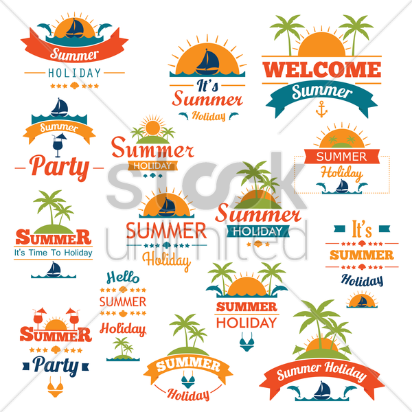 collection of summer icons vector graphic