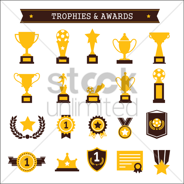 collection of trophies and awards vector graphic