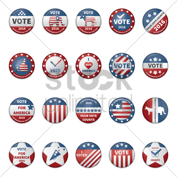 collection of usa election badges vector graphic
