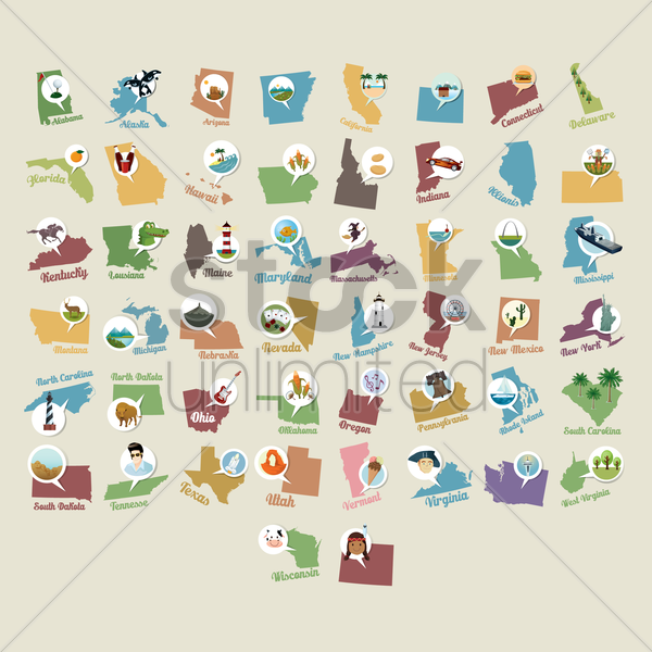 collection of usa state maps vector graphic