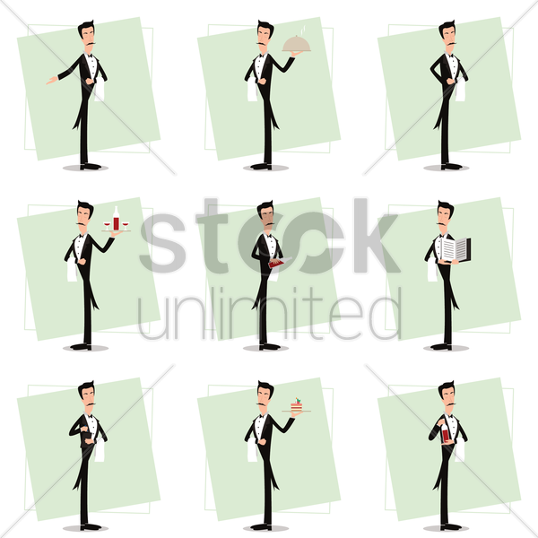 collection of waiter in various activities vector graphic