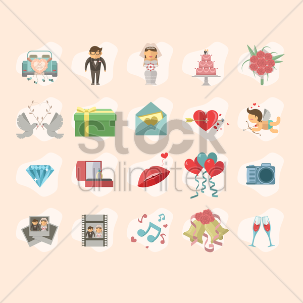 collection of wedding theme vector graphic
