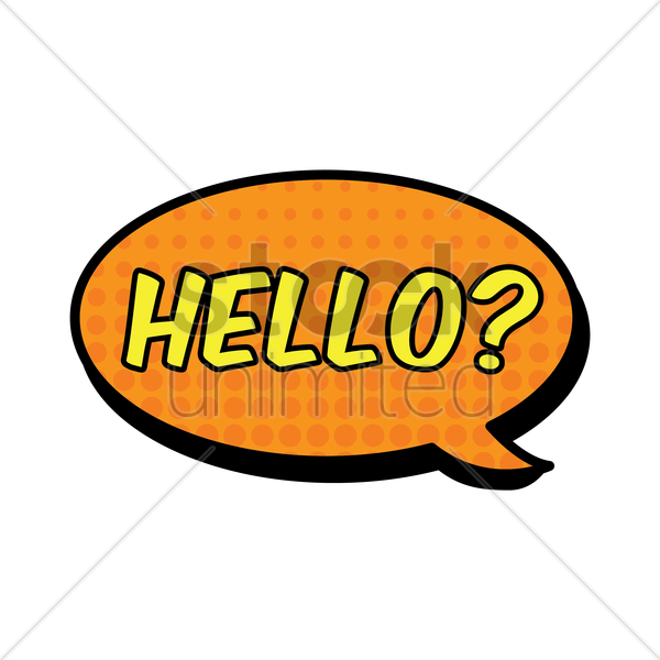 comic bubble hello vector graphic