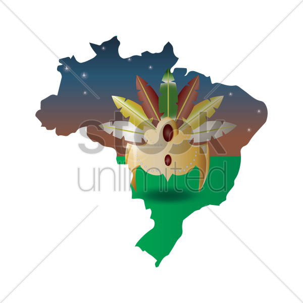 double exposure of brazil map with headdress vector graphic