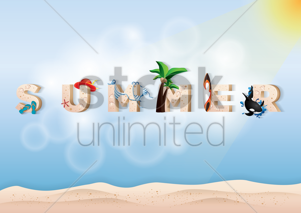 double exposure of sand and summer text vector graphic