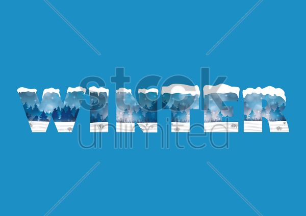 double exposure of snow forest and winter text vector graphic