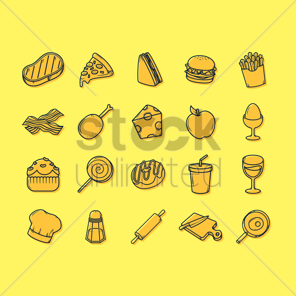 food and beverage icons set vector graphic