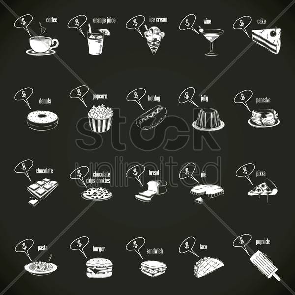 food and beverages with speech bubble set vector graphic