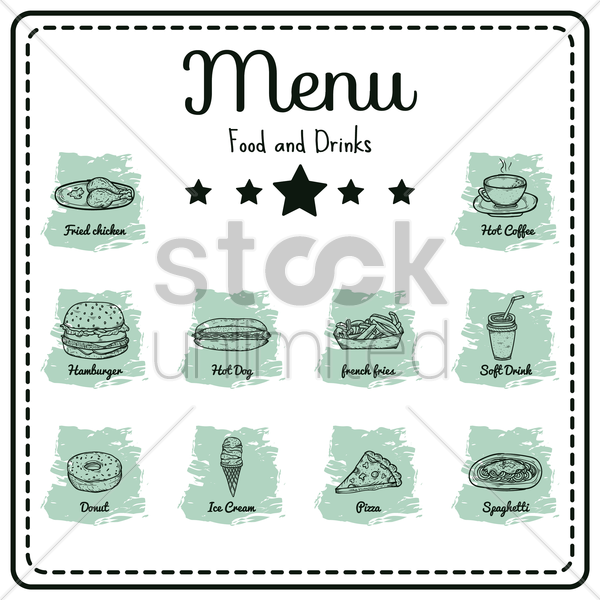 food and drinks menu vector graphic