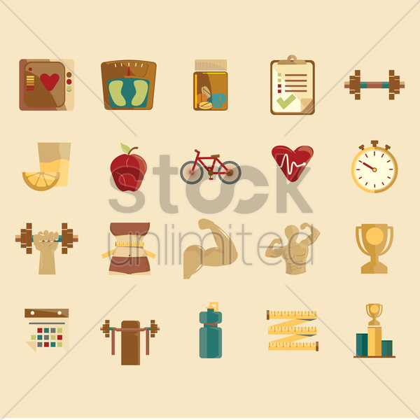 gym and fitness icons vector graphic