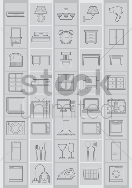 household electrical items vector graphic