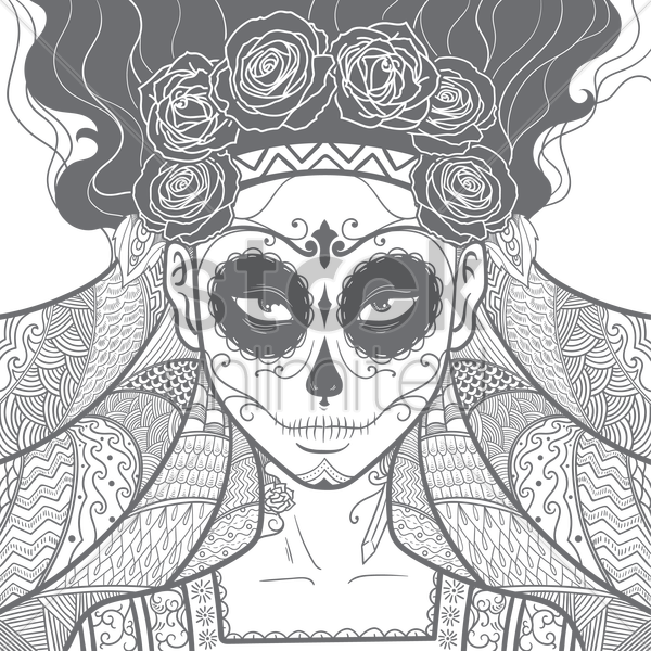intricate design of woman in a wedding dress vector graphic