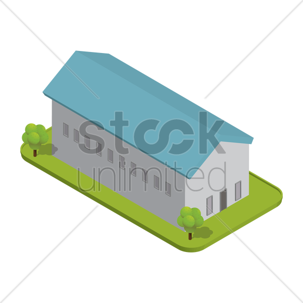isometric factory building vector graphic