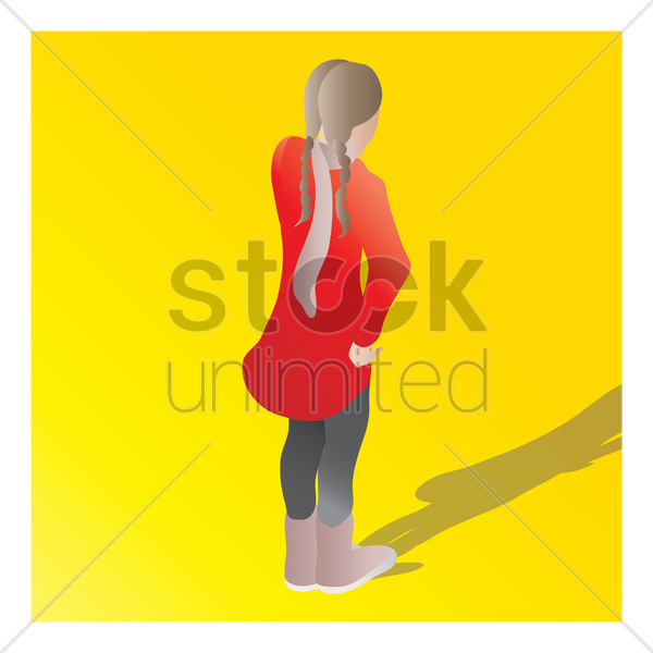 isometric of a girl vector graphic