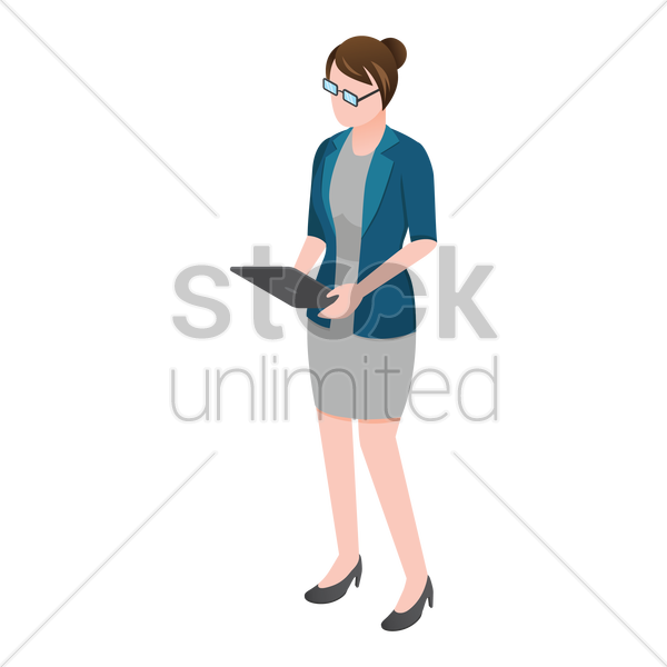 isometric woman holding tablet vector graphic