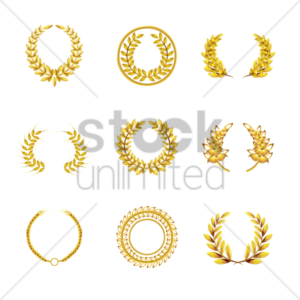 laurel wreath set vector graphic