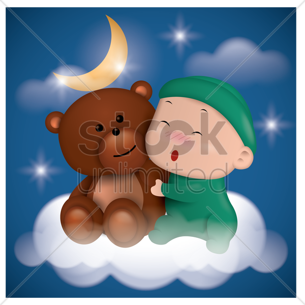 little boy with teddy bear vector graphic