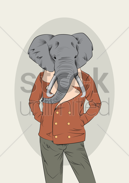 man with elephant head vector graphic