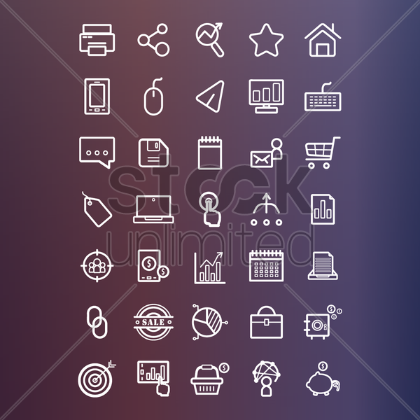 marketing icons collection vector graphic