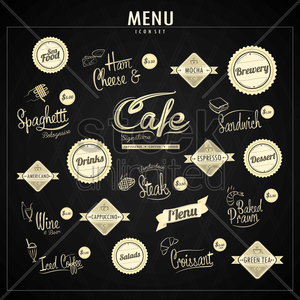 menu icon set vector graphic