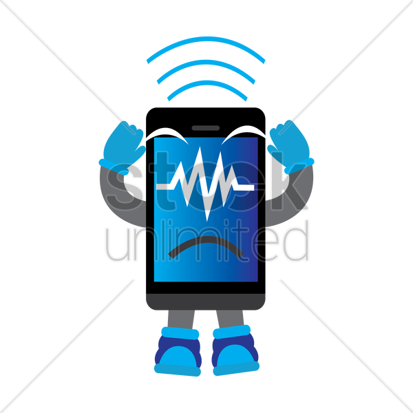 Mobile Phone Character With Signal Vector Image 1424321