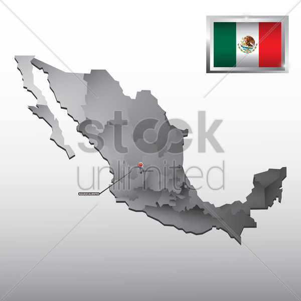navigation pointer indicating aguascalientes on mexico map vector graphic