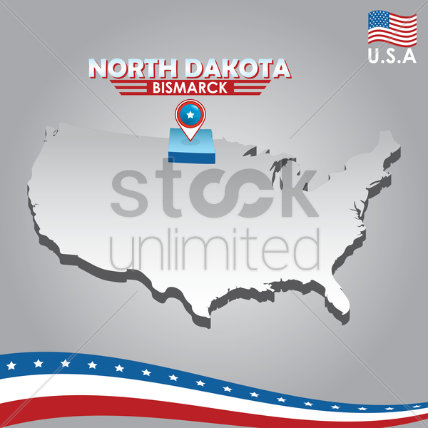 navigation pointer indicating north dakota on usa map vector graphic