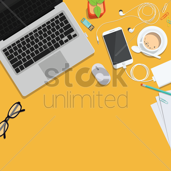 office workspace design vector graphic