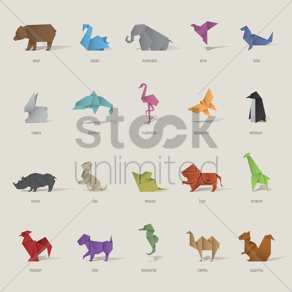 origami bird and animal set vector graphic