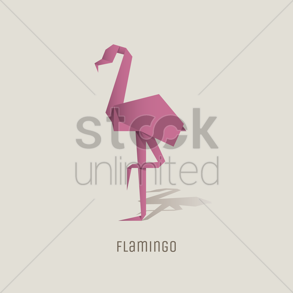 Origami Flamingo Vector Image 1817837 Stockunlimited