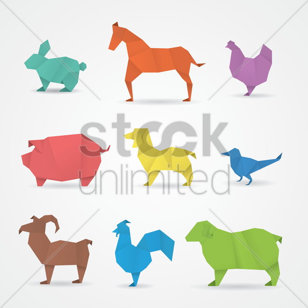 Free paper animal icons vector graphic