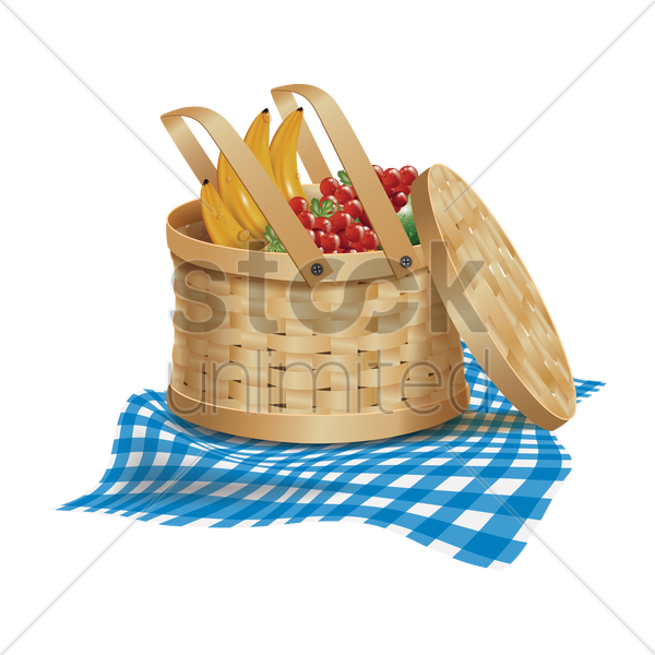 Picnic basket with fruits Vector Image - 1810137 ...