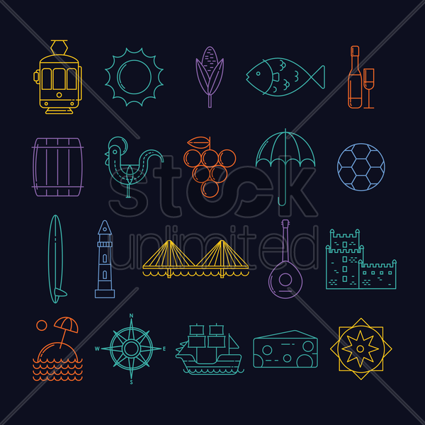 portugal general icons vector graphic