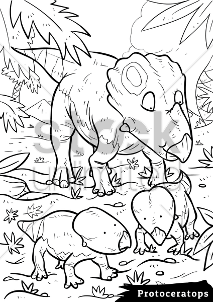 protoceratops with hatchlings vector graphic