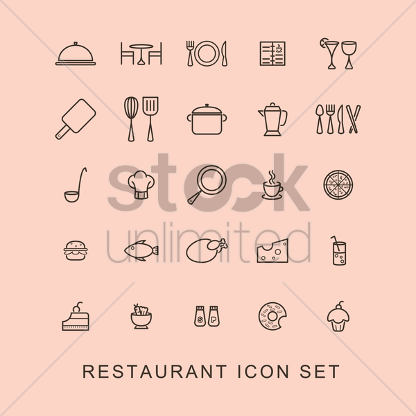 restaurant icon set vector graphic