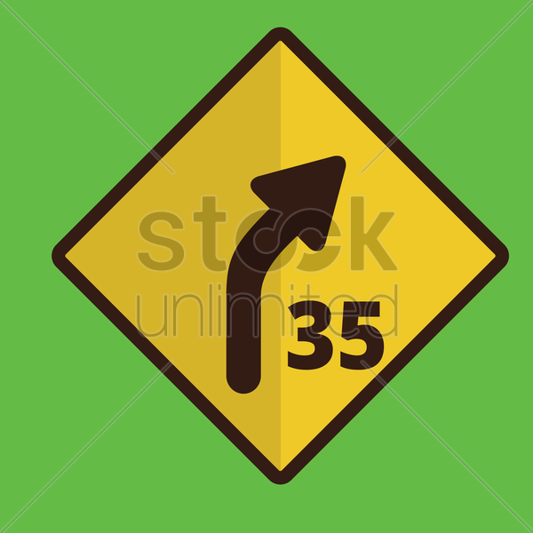 right curve sign vector graphic