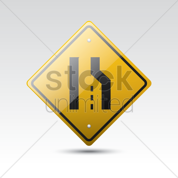 Free right lane ends sign vector graphic