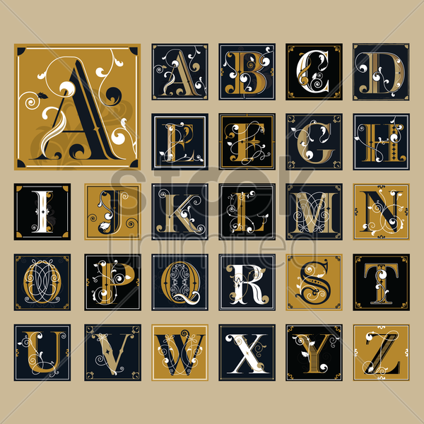 set of alphabet icons vector graphic